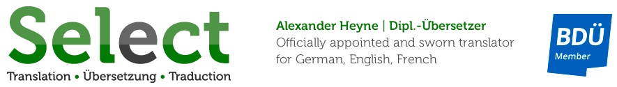 Alexander Heyne – Officially appointed and sworn translator for German, English and French